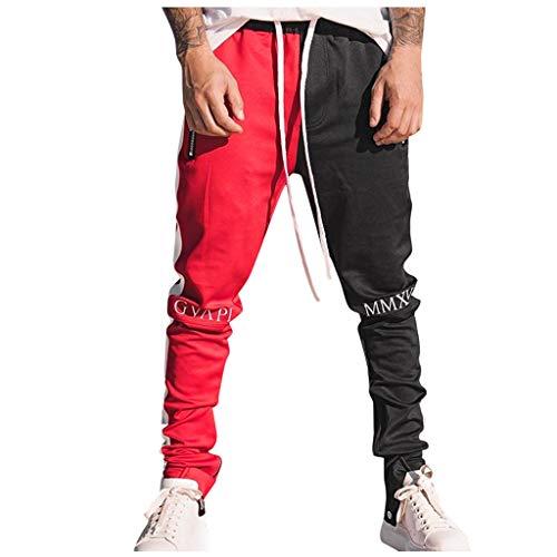 Aoogo Herren Streifen Freizeithose Lose Patchwork Farbe Sweatpant Hose Hip Hop Joggerhose Business Hip Hop Jogginganzug Sporthosen
