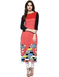 [Sponsored Products]Ziyaa Women's Multicoloured Boat Neck With 3/4 Sleeve Crepe Digital Print Straight Kurta (ZIKUCR457)