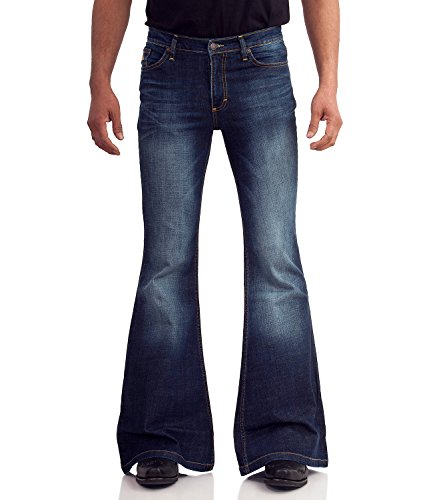 70er Blue Jeans mit Schlag dunkelblau used Dunkelblau