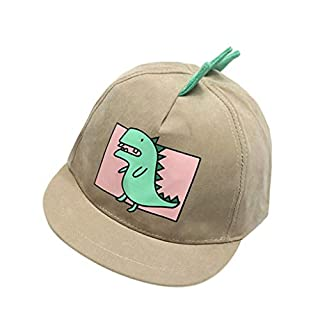 Baby Boy Hats Soft Cotton Dinosaur Sunhat Eaves Baseball Cap Sun Hat Beret (Khaki)