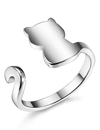 BE STEEL 925 Sterling Silber Ring für Damen Mädchen Ringe Katze Einstellbar 47-57