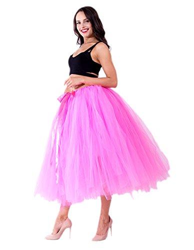 Honeystore Damen's Tüllrock Maxirock Lang Tüll Rock Tutu Hochzeit und Party Prinzessin Ballettrock One Size Hell Fuchsie Teen-disney Prinzessin Kostüme