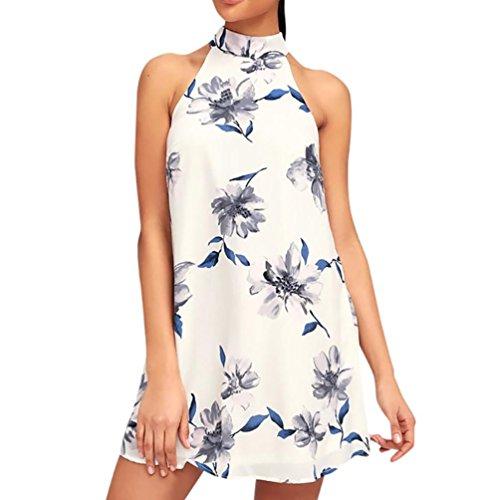 20265ec3fa36 Damen Kleider Frauen Dress Blau Sommerkleider Vintage Blumenkleid  Ärmelloses Blume Bedruckt Minikleid Halfter Strandkleid Abendkleid Großen  Größen ...