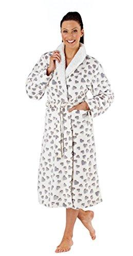 Selena Secrets Charlene–Giacca in pile vestaglia avvolgente kimono White/Grey/Pink