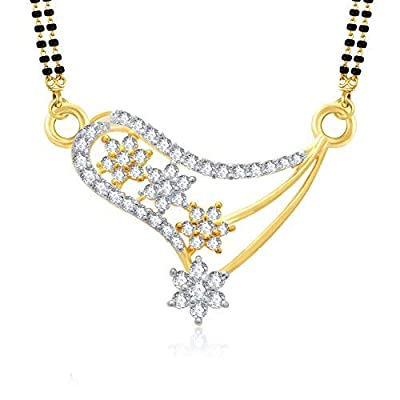VK Jewels Dazzling Stars Gold And Rhodium Plated Alloy Mangalsutra set with Earrings for Women made with Cubic Zirconia-MP1023G [VKMP1023G]