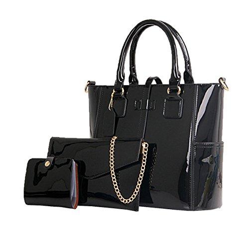 Lady Fashion 3 Stücke Sets Pu-leder Handtasche Schultertasche Crossbody Taschen Für Frauen Multicolor,Black-M -