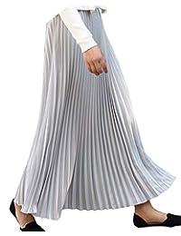 41cd6422e00d Donna Gonna Lunga di Pieghe Vita Elastica Solida Colore Maxi Gonne