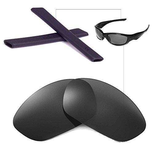 Walleva Wechselgläser Und Earsocks für Oakley Straight Jacket Sonnenbrille - Mehrfache Optionen (Schwarz Polarisierte Linsen + Schwarzer Gummi)