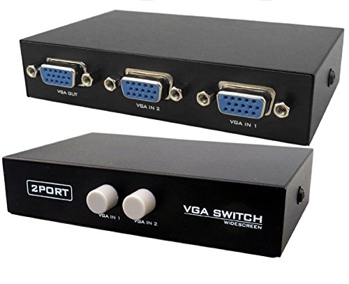Cables Kart 2 Port Manual VGA Splitter -for two PC to share one monitor and speaker system - 2 Year Warranty.