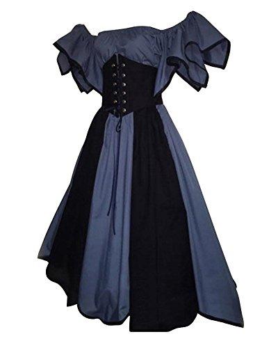 ttelalter Kostüm Viktorianisches Kleid Retro Partykleid Blau M (Renaissance-kostüme Für Erwachsene)