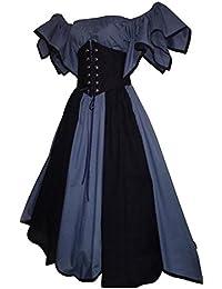 Damen Renaissance Mittelalter Kostüm Viktorianisches Kleid Retro Partykleid