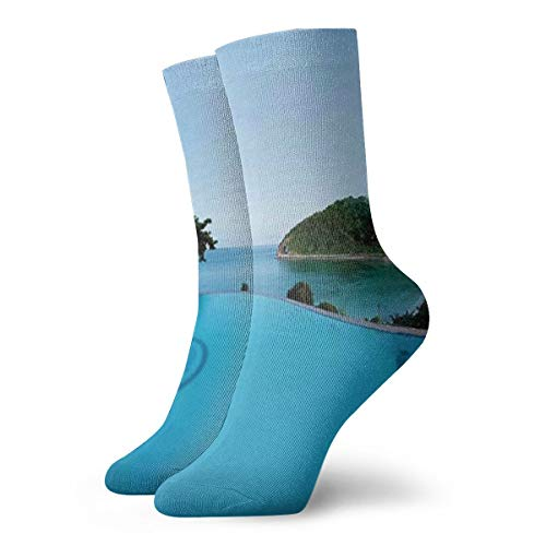 Pool View At Sunset Beach In Seacoast Ocean Heavenly Vibrant Colors Adventure Photo Compression Socks Sport Athletic 30 cm Long Crew Socks For Men Women -