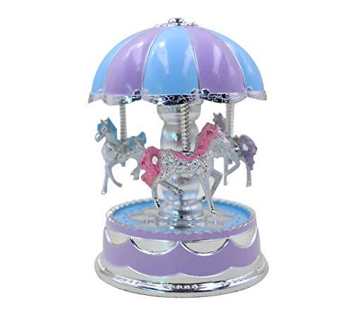 GeGien Schöne LED Licht Karussell Spieldose Karussell Spieluhr mit Musik Dekoration Music Box, Karussell Karussell Spieluhr Weihnachtsgeschenk Geschenk (lila) -