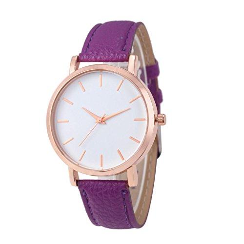 Armbanduhr Damen Uhr 2018 Xinantime Mode Leder Edelstahl Stahl Analog Quarz Damenuhr Roségold 8 Farben (Standard, Lila)