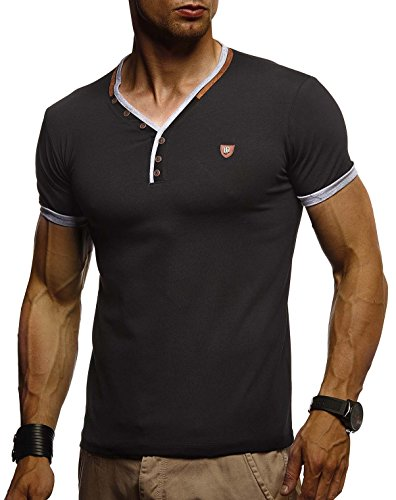 LEIF NELSON Herren T-Shirt V-Ausschnitt Sweatshirt Longsleeve Basic Shirt Hoodie Slim Fit LN1330; Größe L, Schwarz