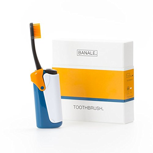 Banale brosse à dents de voyage avec dentifrice intégré poils remplaçables et boîtier en plastique, petit, léger, lavable et compacte pour le voyage et le bureau, rechargeable (orange)