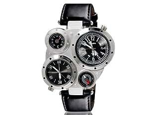 Oulm 9415 unisexe double mouvement montre de sport mécanique avec affichage GMT Dual Time, thermomètre et boussole (Noir) M.