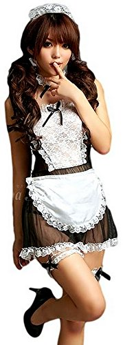 bunny-shop Damen Zimmermädchen Kostüm Kleid Sexy Outfit Dessous Cosplay Fasching Karneval 7-teilig Schürze Halsband Strapsbänder