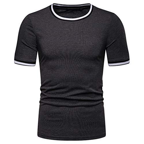 DEELIN Herrenmode Sommer Solide T Shirt Blatt Kurzarm Tops Casual Offene ()