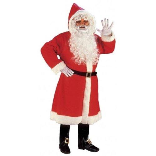 3 Abgeschnitten Stück Kostüm - Deluxe Weihnachtsmann Mantel + Bart + Perücke