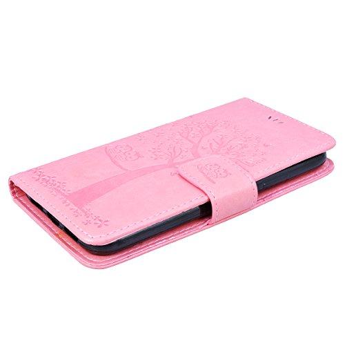 GrandEver iPhone X Ledertasche Hülle Schutzhülle Eule und Baum Retro Tasche Lederhülle mit Handschlaufe Scratch Ledercase Schale Umschlag Stil Flip Wallet Case Cover mit Weiche Silikon Innere Standfun Rosa