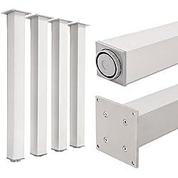Juego de patas extensibles de mesa, 100% aluminio | Sossai® Exclusivo E4TBAL | Incluidos accesorios de montaje | Set de 4 unidades | Altura regulable 1100 mm + 20 mm