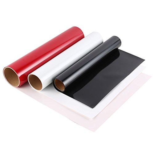 Wärmeübertragung-Vinylpapier, schneidbarer PU-Film für Sport-T-Shirt, Schale, Mausunterlage, Stichsäge, Porzellanteller, keramisch, Glas, 30.5 * 152cm, rot, weiß und schwarz