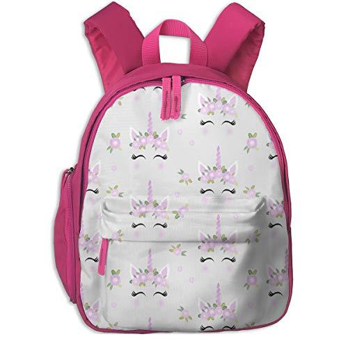 Kinderrucksack mädchen,Einhorn Gesicht Floral Einhorn Quilt Kinderzimmer Stoff Grey_2615 - Charlottewinter, für Kinderschulen Oxford Tuch (pink)