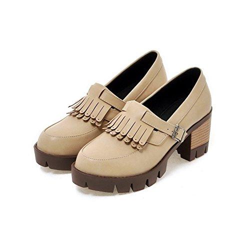 VogueZone009 Femme Pu Cuir Couleur Unie Boucle Rond à Talon Haut Chaussures Légeres Abricot