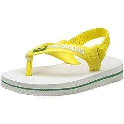 Havaianas Brasil Logo Ii, Sandalias para Unisex Niños, Blanco/Amarillo (White/yellow Citric), 21 EU (19 Brazilian)