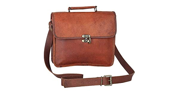 Tan CPLEATHER Finest Quality Leather Messenger Bag for Men and Women