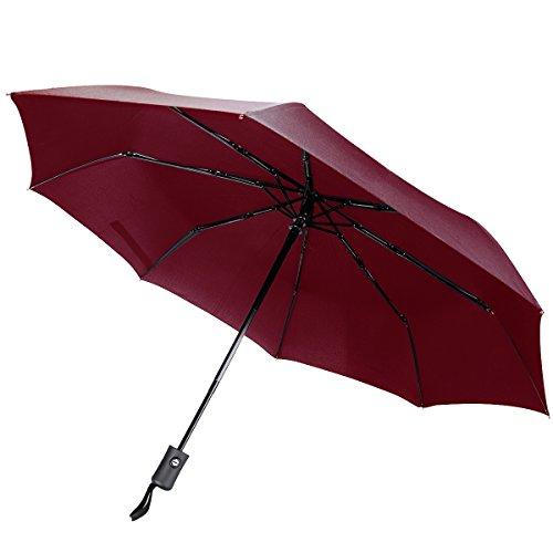 SIBOSUN Reisen-Regenschirm Automatisches Öffnen/Schließen Ein-Hand Betrieb Geringes Gewicht Regen Winddicht Kompakt Weinrot Kinder-ringe Für Mädchen Birthstones