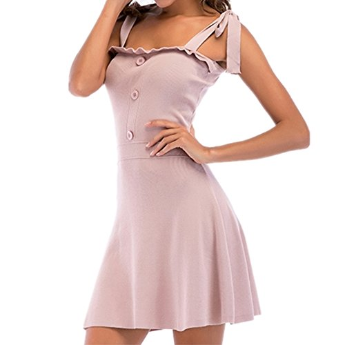 Rocke Damen Kleid Einfarbig Sleeveless Neck Tie Strickrock Frauen Sling (Color : Pink, Size : L) -