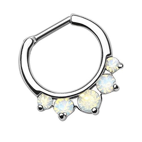 Piersando Universal Piercing Ring Clicker für Septum Tragus Helix Ohr Nase Lippe Brust Intim Vintage Tribal mit Opal Stein Spitzen Silber Weiß