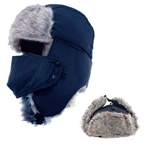 AYAMAYA AYAMAYA Wintermütze Fliegermütze für Herren Damen, Warm Fellmützemit Ohrenklappen Klassische Trappermütze Russische Mütze (Blau)