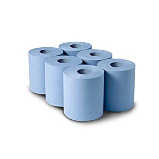 BLUE CENTREFEED PAPER ROLLS X 6 (150 METER ROLL)