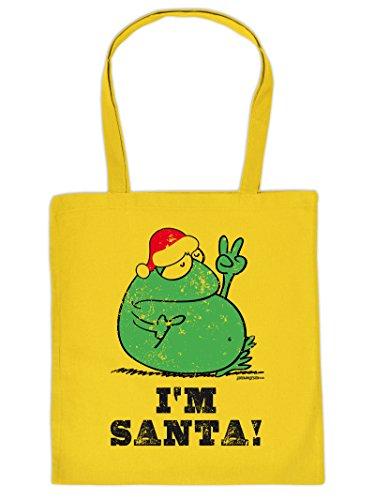 (Weihnachten kommt immer näher - Stofftasche mit Druck - I M SANTA! - Frosch - Geschenkidee. Gelb)