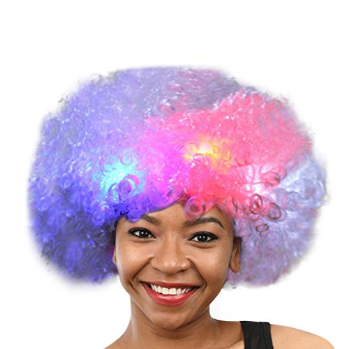 DOGZI Perücke Kostüm Langhaar Haarnetz, Party Disco LED Flash Clown Haar Fußball Fanerwachsener Afro Maskerade Haar Perücke (Flash Kostüm Perücke)