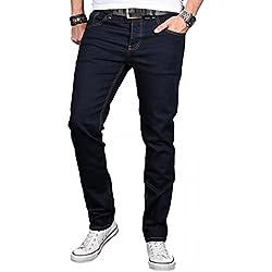 A. Salvarini Designer Herren Jeans Hose Basic Stretch Jeanshose Regular Slim [AS042 - Denim Blue - W34 L34]