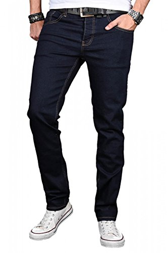 A. Salvarini Designer Herren Jeans Hose Basic Stretch Jeanshose Regular Slim [AS042 - Denim Blue - W33 L30] (Slim-fit-jeans)