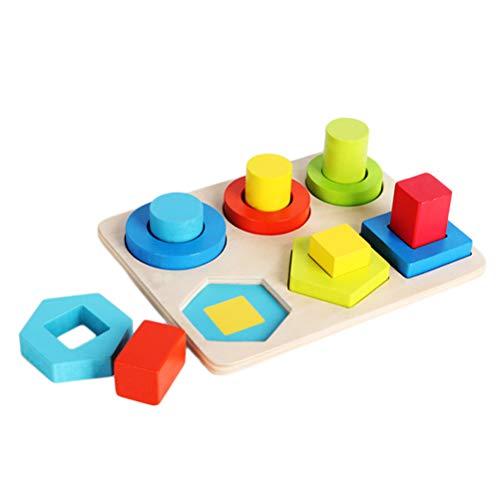 Steckwürfel aus Holz Spielzeug-Würfel-Puzzle Steckbox, Formen Zum Folgerichtigen Sortieren für Baby, Holzspielzeug trainiert Motorik,Lernspielzeug zur Förderung von Formerkennung und Konzentration