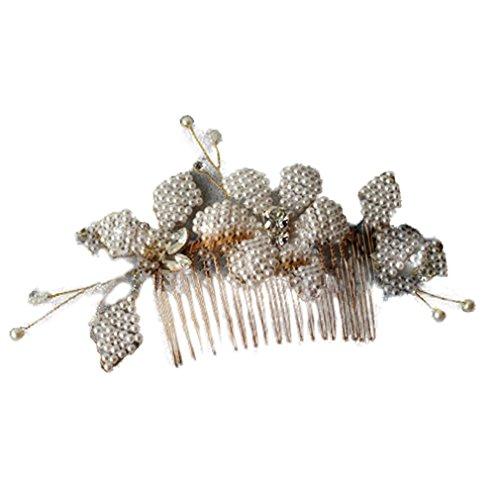 Net Haar Mode (YAZILIND Mode Braut Haar Zubehör Western Stil Hochzeit Kopfschmuck glänzend Blume Perlen Haarkamm (B))