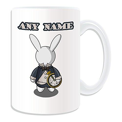 chenk-Groß, Weiß Kaninchen Tasse (Märchen Design Thema, weiß)-alle Nachricht/Name auf Ihre einzigartige-Alice im Wunderland ()