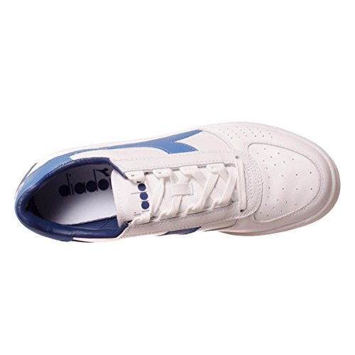 Diadora B.Elite hommes, cuir lisse, sneaker low White/Campanula/Estate Blu
