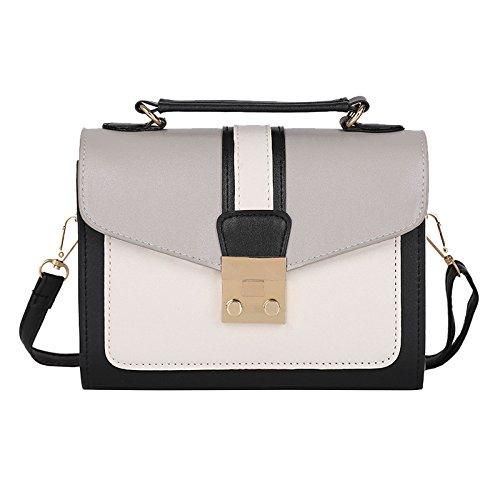 Rawdah Fashion Women Hit Color mosaic leather Shoulder Bag Messenger Satchel Tote Crossbody Bag Black Pink Gray Large Sale Leather School Small Men Levis Waterproof Superdry (Gray)