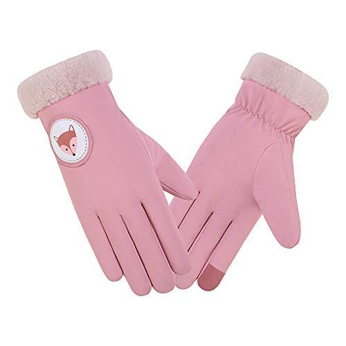 QIMANZI Damen Handschuhe Herbst Winter Winddicht Warm Plus Samthandschuhe Touchscreen Handy Windproof Handschuhe Fäustling(C Rosa)