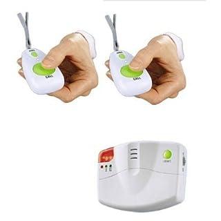 Mobiler Alarm Notruf Knopf 1 Empfänger +2 Sender Krankenpflege Altenpflege Senioren Rentner Hausalarm Pflege Hausnotruf Mobil Panik Panikalarm Funkalarm