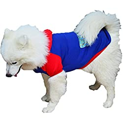 DUOZE Perro De Gran Tamaño Suéter Ropa Oro Con Capucha Superman,Blue-5XL