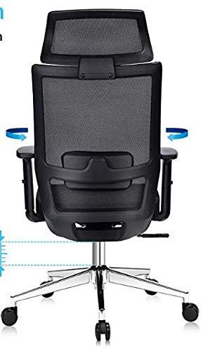 Ergonomischer Schreibtischstuhl, Drehstuhl hat Verstellbarer Lordosenstütze, Kopfstütze und Armlehne, Höhenverstellung und Wippfunktion, Rückenschonend, Bürostuhl bis 150kg/330LB Belastbar
