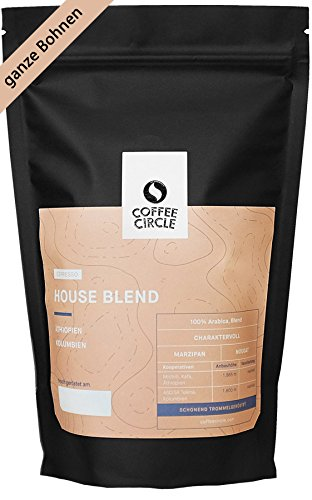 Coffee Circle | Premium Espresso House Blend | 350g ganze Bohne | Ausgewogener Espresso mit blumiger Note | 100% Arabica Blend | fair & direkt gehandelt | frisch & schonend geröstet
